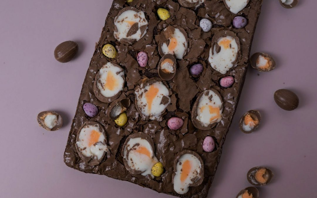Easter Crème Egg Chocolate Brownies