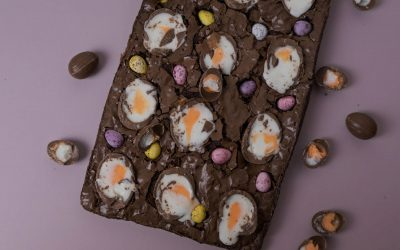 Easter Crème Egg Chocolate Brownies