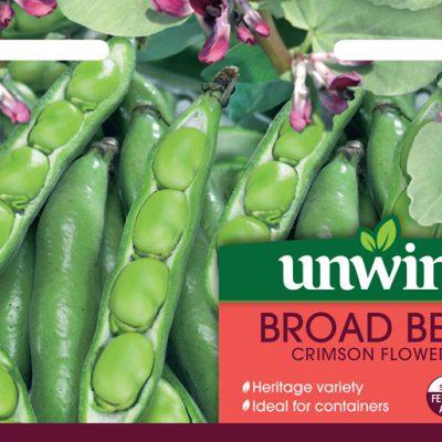 Unwins Seeds Broad Bean Crimson Flowered