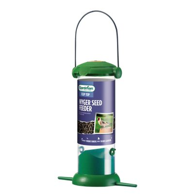Flip top bird feeder for nyjer seed
